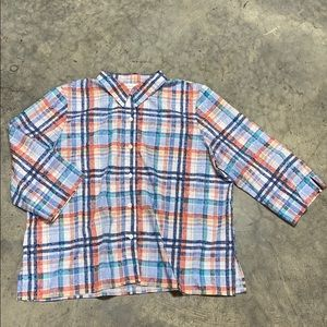 Alfred Dunner Plaid Button Down top